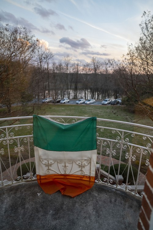 Irish Flag on the second floor of the Mansion, greets a nice sunset